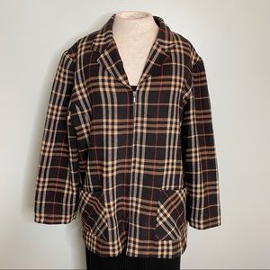 Requirements Plaid Zip up Jacket Size 16